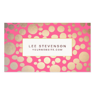 Girly Faux Gold Leaf Circles Pink Pack Of Standard Business Cards