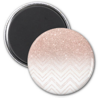 Girly faux rose gold glitter ombre modern chevron 6 cm round magnet