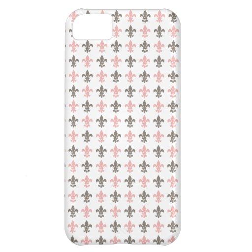 Girly Fleur de Lis Pattern iPhone 5C Cases