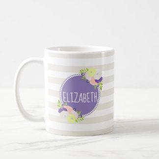 Girly Floral Beige Striped Purple Monogram Name Coffee Mug