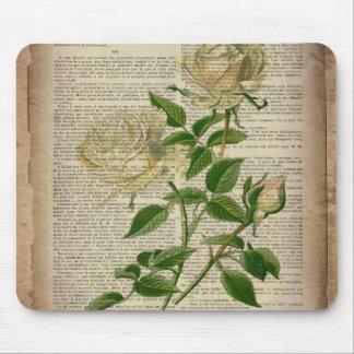 girly floral botanical art vintage white rose mousepad
