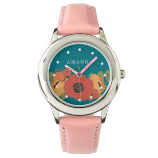 Girly Floral Bouquet Custom Name Pink Watch