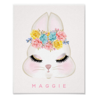 Girly Floral Bunny Face Pink Personalised Poster