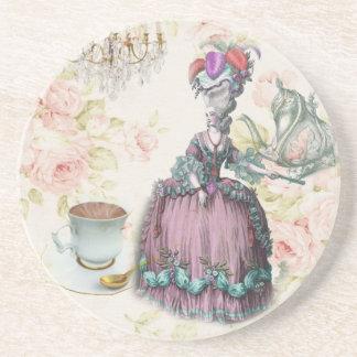 Girly floral Marie Antoinette Paris tea party Beverage Coaster