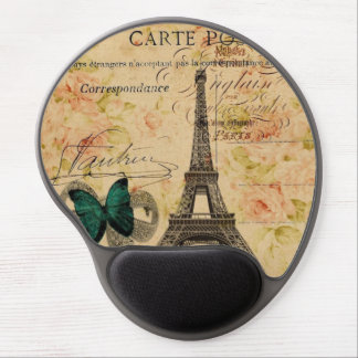 girly floral paris eiffel tower fashion gel mouse pad