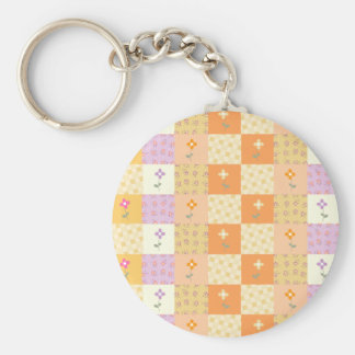 Girly Floral Patchwork Keychain