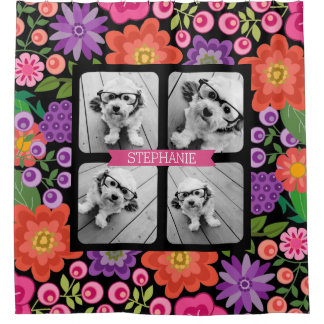 Girly Floral Pattern 4 Photo Collage - Black/Pinks Shower Curtain