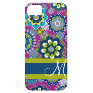 Girly Floral Pattern with Monogram iPhone 5 Covers