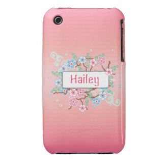Girly Floral Personalized iPhone 3 Case-Mate Cases