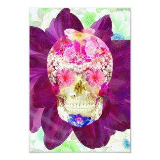 Girly Floral Sugar Skull Cute Pink Teal Flowers 9 Cm X 13 Cm Invitation Card