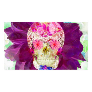 Girly Floral Sugar Skull Cute Pink Teal Flowers Business Card Template