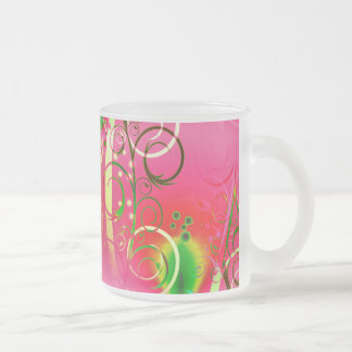Girly Floral Swirl Hot Pink Green Gifts for Her Mugs