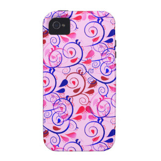 Girly Floral Swirls Flourish Blue Red on Pink iPhone 4/4S Cover