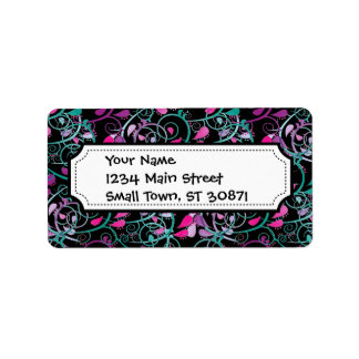 Girly Floral Swirls Pink Teal Purple on Black Address Label