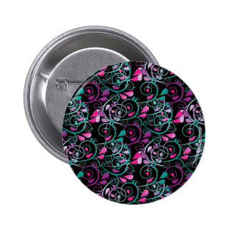 Girly Floral Swirls Pink Teal Purple on Black Pins