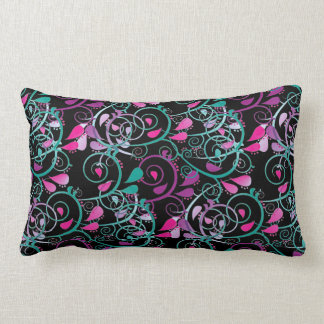 Girly Floral Swirls Pink Teal Purple on Black Throw Cushions