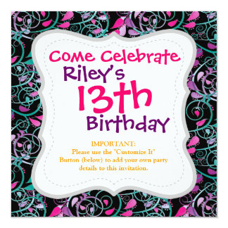 "Girly Floral Swirls Pink Teal Purple on Black 5.25"" Square Invitation Card"