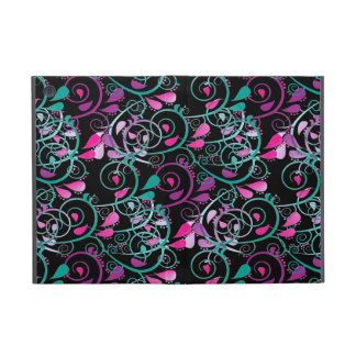 Girly Floral Swirls Pink Teal Purple on Black Covers For iPad Mini