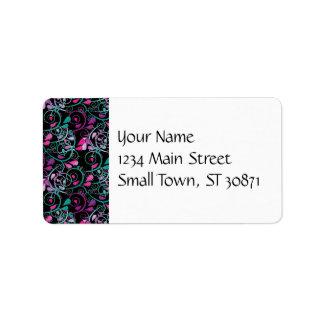 Girly Floral Swirls Pink Teal Purple on Black Address Label