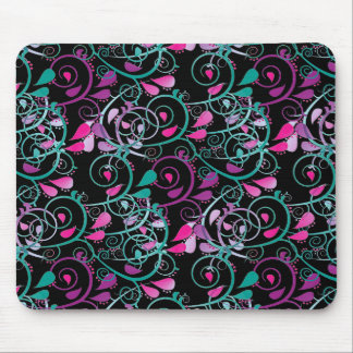Girly Floral Swirls Pink Teal Purple on Black Mouse Pad