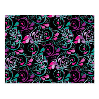 Girly Floral Swirls Pink Teal Purple on Black Postcard