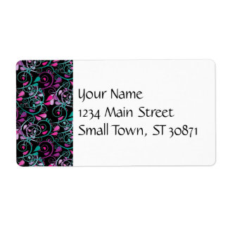 Girly Floral Swirls Pink Teal Purple on Black Shipping Label