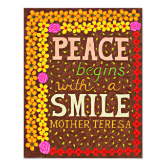Girly Floral Typography Quote On Peace Photo Print