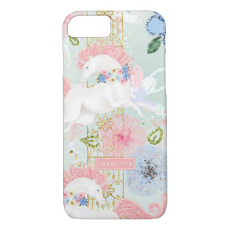 Girly Floral Unicorn Pink Gold Personalised iPhone 8/7 Case