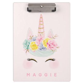 Girly Floral Unicorn Pink Gold Personalized Clipboard