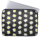 Girly floral white daisy pattern black watercolor laptop sleeve