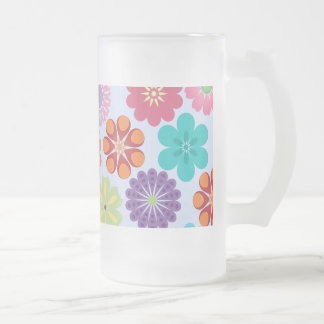 Girly Flower Power Colorful Floral Pattern Frosted Glass Beer Mug