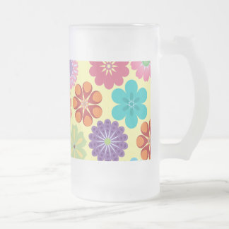 Girly Flower Power Colorful Floral Pattern Gifts Frosted Glass Beer Mug