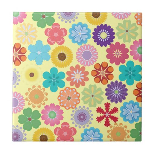 Girly Flower Power Colorful Floral Pattern Tile