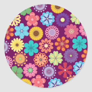 Girly Flower Power Colorful Floral Purple Pattern Classic Round Sticker
