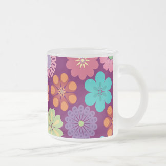 Girly Flower Power Colorful Floral Purple Pattern Coffee Mug