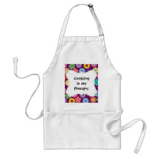 Girly Flower Power Colorful Floral Purple Pattern Standard Apron