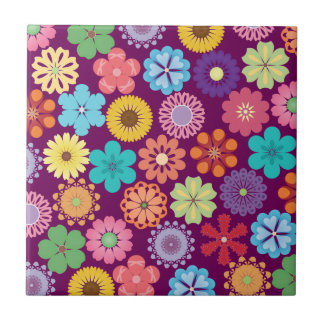 Girly Flower Power Colorful Floral Purple Pattern Small Square Tile