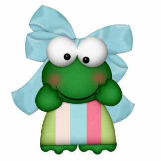 girly  froggy in stripe dress with bow standing photo sculpture