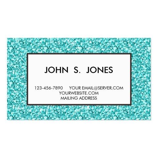 Girly, Fun Aqua Blue Glitter Printed Business Cards