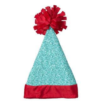 Girly, Fun Aqua Blue Glitter Printed Santa Hat