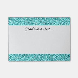 Girly, Fun Aqua Blue Glitter Printed Post-it Notes