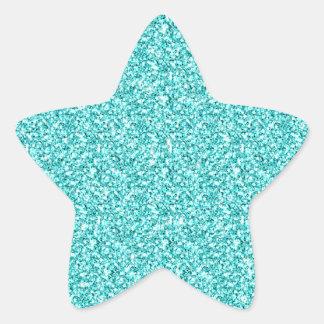 Girly, Fun Aqua Blue Glitter Printed Star Sticker