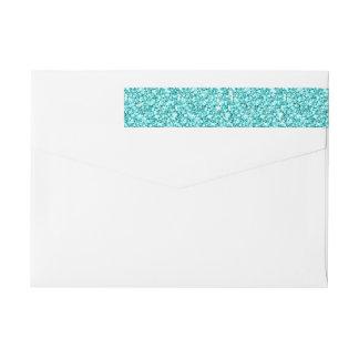 Girly, Fun Aqua Blue Glitter Printed Wraparound Return Address Label