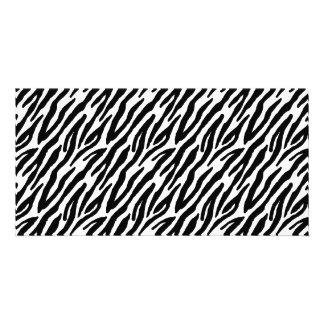 Girly Fun Black Zebra Stripes Pattern Photo Card