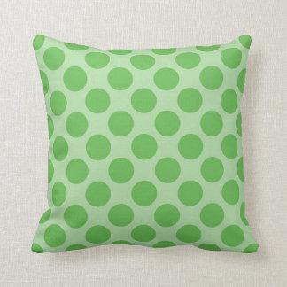 Girly Fun Cute Green Polka Dots Pattern on Green Cushion