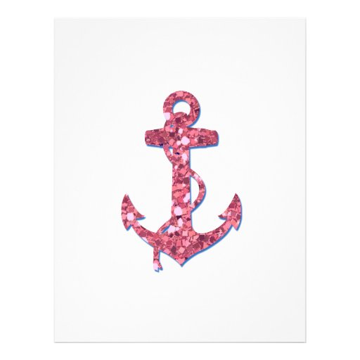 Girly, Fun, Pink Glitter Anchor Printed Personalized Flyer