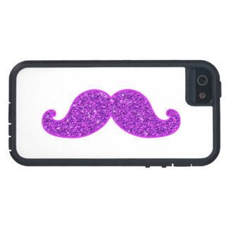 Girly fun retro moustache purple glitter iPhone 5 cover