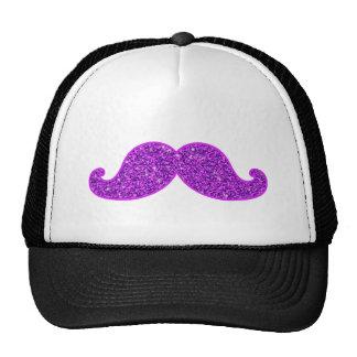 Girly fun retro mustache purple glitter cap