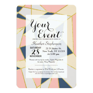 Girly Geometric Triangles with Faux Gold 13 Cm X 18 Cm Invitation Card