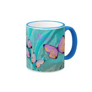 Girly Gift! Butterfly Mug, Add NAME! Ringer Mug